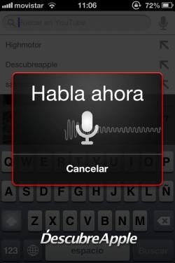 Aplicación Youtube búsqueda por voz