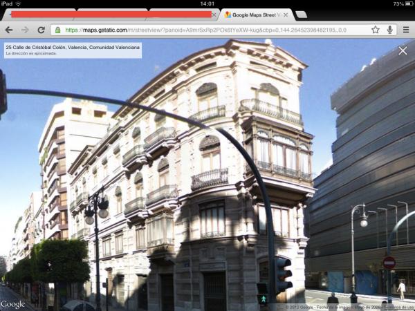 La Apple Store de Valencia vista desde Google Street View en iOS6