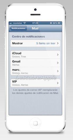 notificaciones individuales para cada cuenta de mail