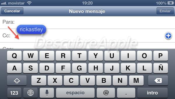 Truco en iOS 6, haz Drag & Drop con las direcciones de email