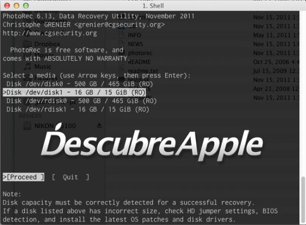 Cómo recuperar archivos borrados en Mac con PhotoRec