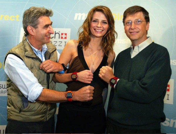 Bill Gates and Swatch CEO Nick Hayek show new Swatch watches in New York