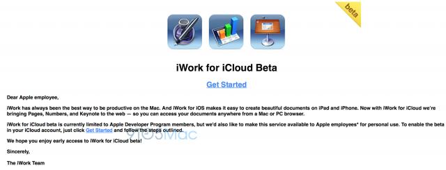 Los empleados de Apple también pueden probar ya mismo iWork para iCloud
