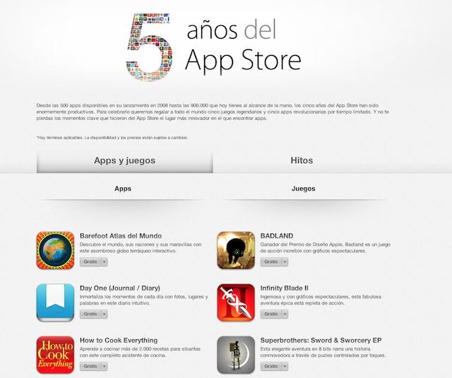 10 apps de Regalo para Celebrar los 5 Años de la App Store