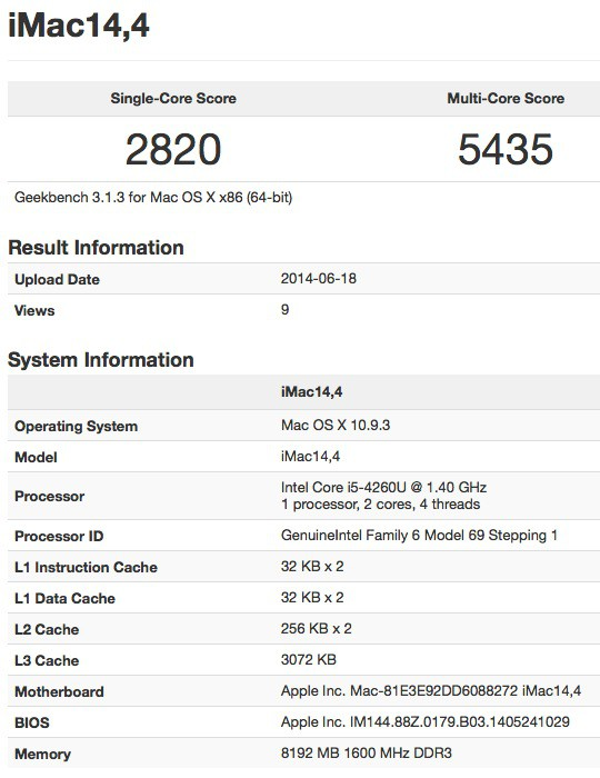 iMAc lowcost geekbench