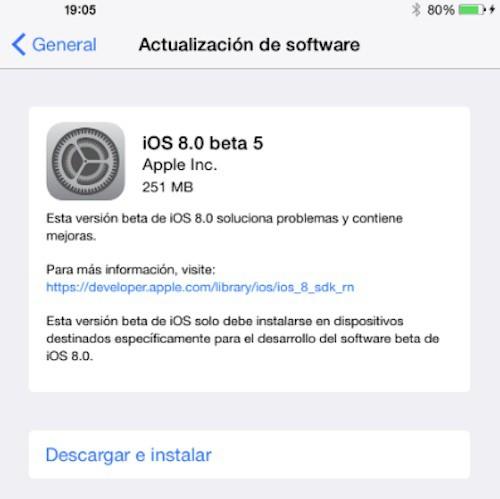Novedades de la beta 5 de iOS 8 ya disponible para desarrolladores