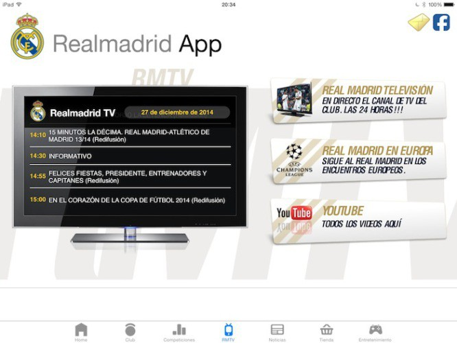 Real Madrid TV ya puede verse gratis desde la app oficial para iPhone y iPad