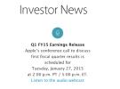 Apple dará a conocer los resultados del primer trimestre fiscal de 2015 el próximo 27 de Enero