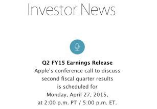 Apple presentará los resultados de su segundo Cuarto Fiscal de 2015 el próximo 27 de Abril