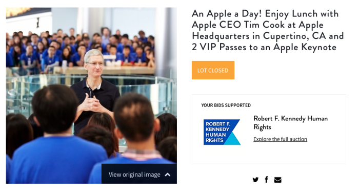Tim Cook CharityBuzz