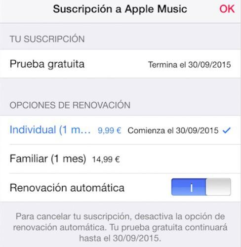 Apple Music renueva automáticamente tu suscripción mensual: Así puedes desactivarla