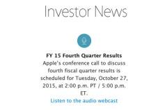 Apple presentará sus últimos resultados financieros el próximo 27 de Octubre