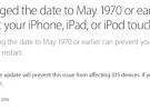 Apple asegura que la próxima actualización de iOS solucionará el fallo de '1970' mientras se enfrenta al colmo de lo absurdo