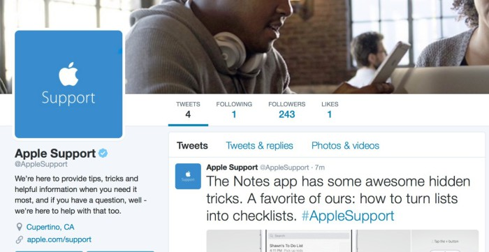 Apple Support Twitter