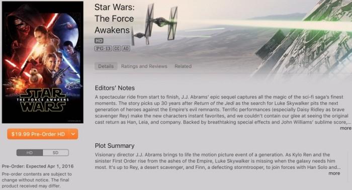 Force Awakens iTunes
