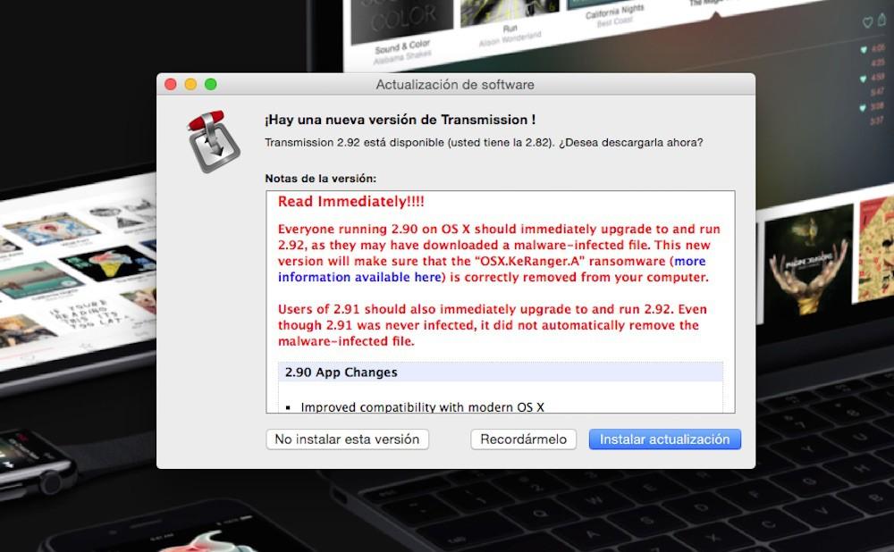 ¡Cuidado! Si actualizaste a la última versión de Transmission tu Mac podría quedar secuestrado