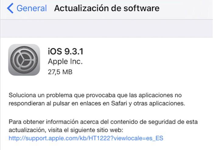 Apple soluciona el bug de los enlaces con iOS 9.3.1  -Ya disponible-