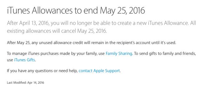 iTunes Allowances
