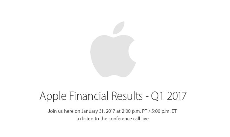 Apple anuncia oficialmente su Conferencia de Comunicación de Resultados del Primer Trimestre del Año Fiscal 2017