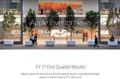Apple presentará a finales de este mes sus resultados financieros del primer cuarto fiscal de 2017