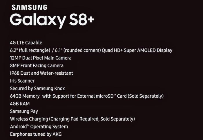 S8+Specs