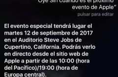 Siri confirma que habrá streaming de vídeo en directo del evento de Apple del día 12
