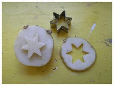 Tampones o sellos para imprimir con patatas