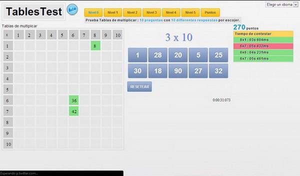 Juegos para aprender las tablas online