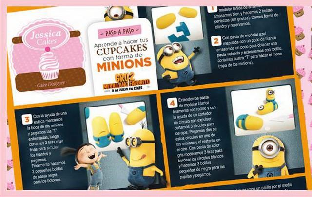 """Receta de cupcakes con forma de los minions de """"Gru, mi villano favorito"""""""