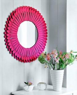 Manualidad: espejo cucharas plastico