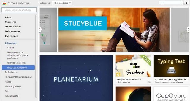 Aplicación recomendada: extensiones educativas para Google Chrome
