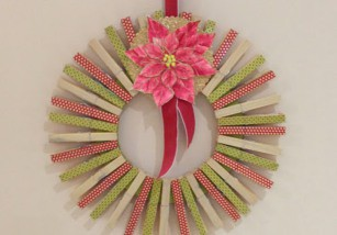 Manualidades de Navidad: Corona con pinzas de la ropa