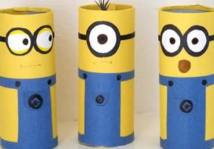 Manualidades infantiles: Minions con tubos de cartón
