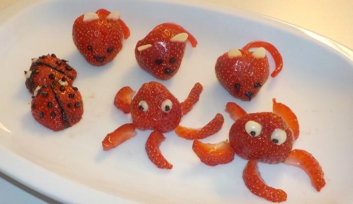 Animales con forma de fresas