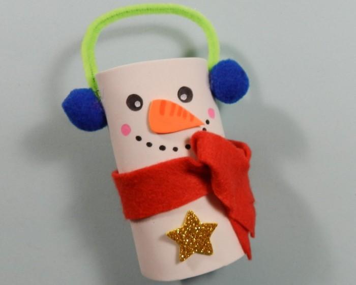 muñeco de nieve con tubo carton wc