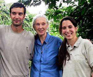 Rebeca, Fernanddo y Jane Goodall