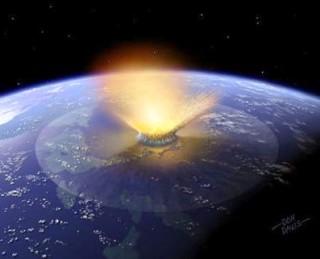 Representación del choque con un meteorito