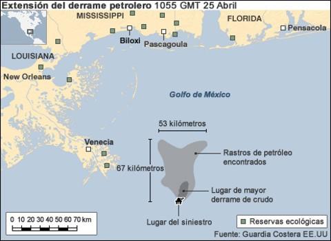 Mapa del derrame de petroleo en el Golfo de México