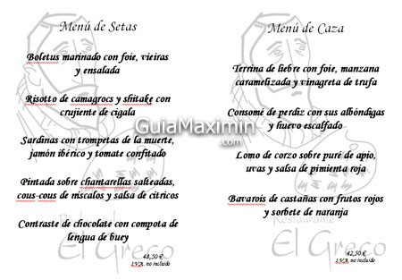 Menu Caza y Setas El Greco