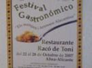 FESTIVAL GASTRONOMICO RACO DE TONI (ALTEA-A)