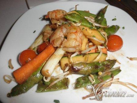 verduras con gambas