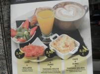 carta desayunos