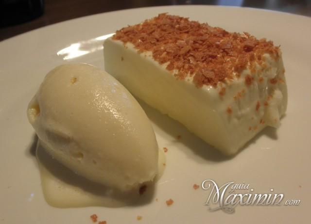 flan de queso, mosto fresco y helado de romero