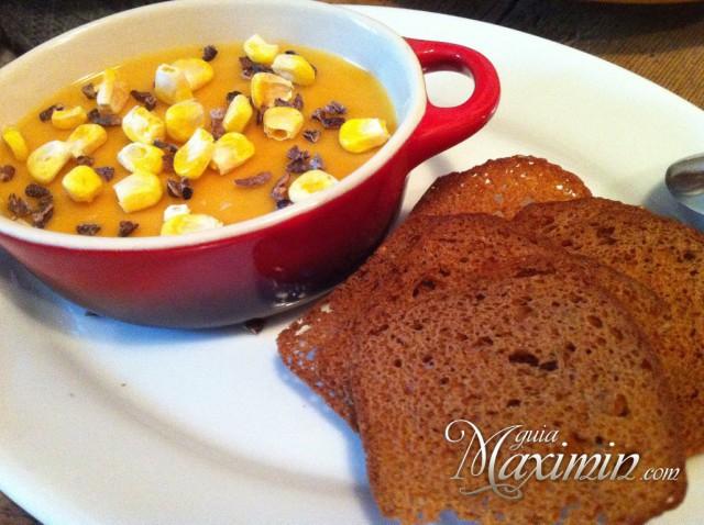 cremoso de foie con maiz y cacao