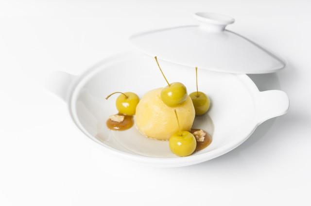 Manzana asada, Cabrales y crema de calvados_María Manuela Bistró