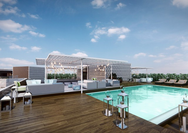 Terraza Vi Cool Hotel Aguas de Ibiza Piscina Primer Plano Diurna