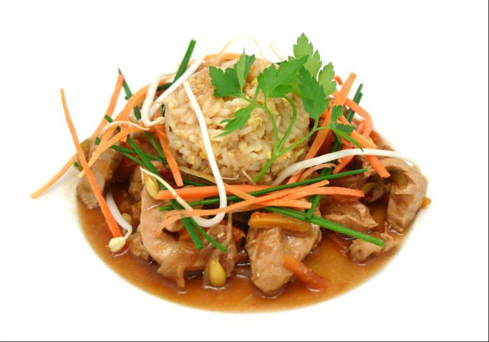 Pollo Oriental con arroz frito