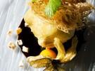 Tempura de castañas con churro hilado y chocolate caliente, Quince Nudos