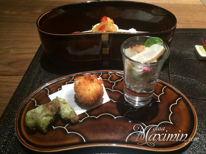 croqueta foie, tempura de calamar y sepia