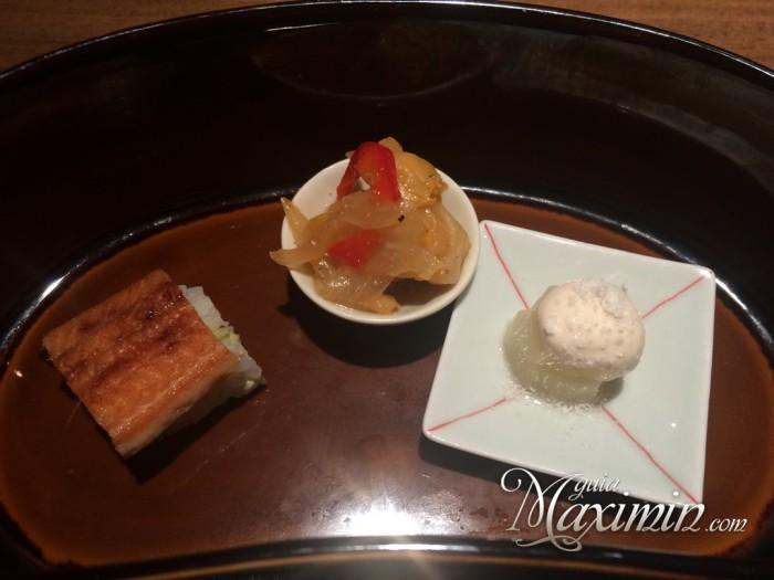 sushi anguila, pollo y espárrago